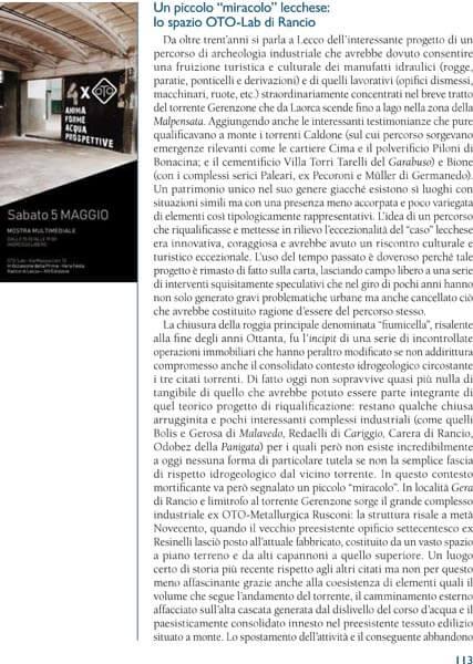 Oto Lab articolo Archivi di Lecco 01-06-2018