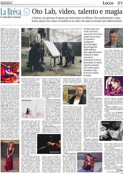 Oto Lab Il Giornale di Lecco article 12-03-2018