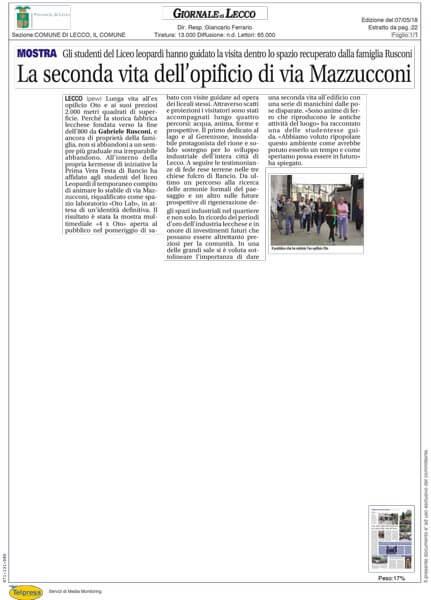 Oto Lab articolo Il Giornale di Lecco 07-05-2018