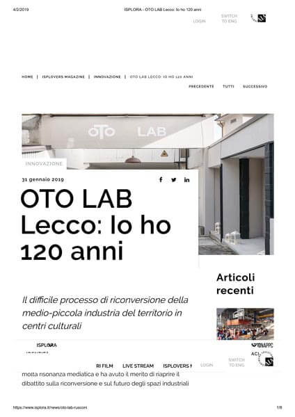 Oto Lab Isplora article 01-29-2019