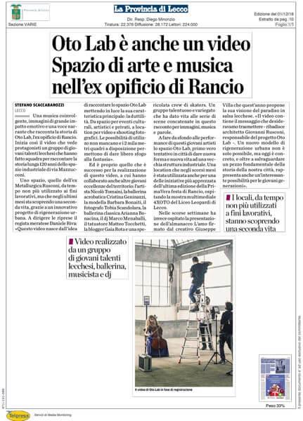 Oto Lab articolo La Provincia di Lecco 01-12-2018