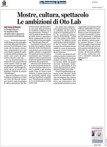 Oto Lab articolo La Provincia di Lecco 20-08-2018