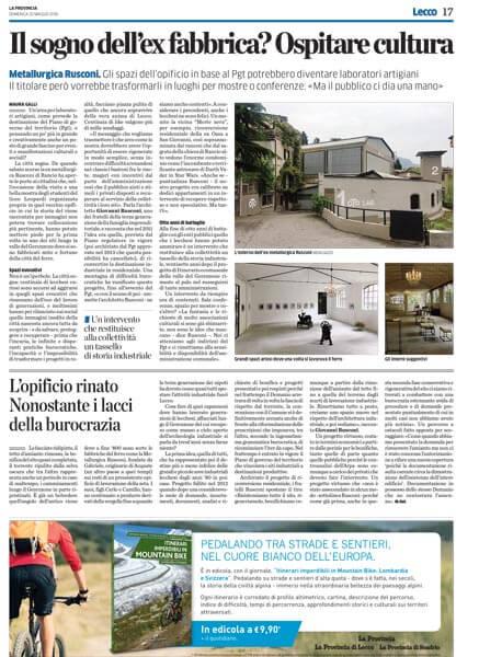 Oto Lab articolo La Provincia di Lecco 20-05-2018