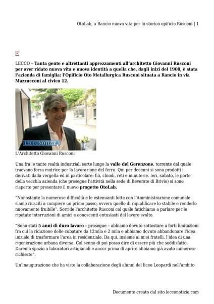 Oto Lab Lecconotizie article 05-06-2018
